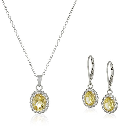 Sterling Silver Citrine Pendant Necklace and Earrings Jewelry Set