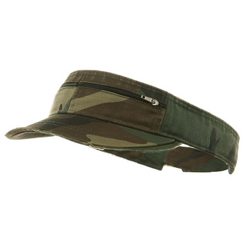 e4Hats.com Enzyme Washed Cotton Twill Visor-Camo OSFM
