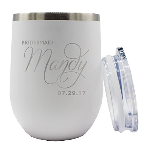 Bridesmaid Stemless Wine Tumbler  Custom Personalized 12 oz Insulated Stainless Steel Cup  Bride Maid of Honor Gift White