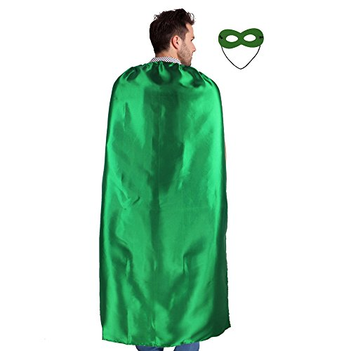 [Men & Women's Superhero Cape or Cloak Any Color + Mask Lacing Party Costumes (Green)] (Hero Costumes For Men)