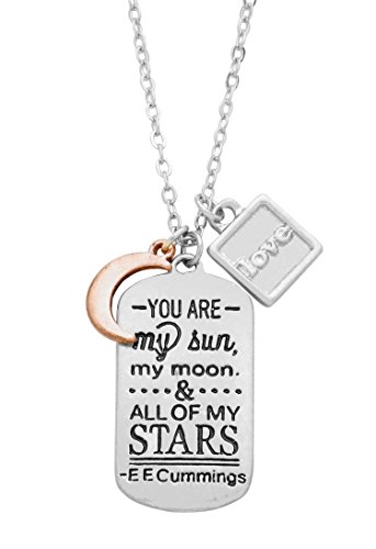 """Rosemarie Collections Women's Dog Tag Charm Pendant Necklace """"You Are My Sun, Moon and Stars"""""""