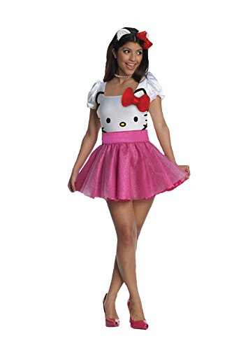 Hello Kitty Costume For Adults Plus Size (UHC Women's Secret Wishes Sexy Hello Kitty Pink Retro Tutu Halloween Costume, S (6-8))
