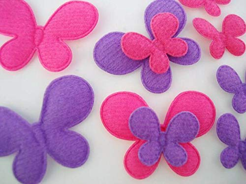 60 Bubble Gum Color Felt Butterfly Applique/Pink+Purple/Trim/Craft/Sewing #ID-114 ()