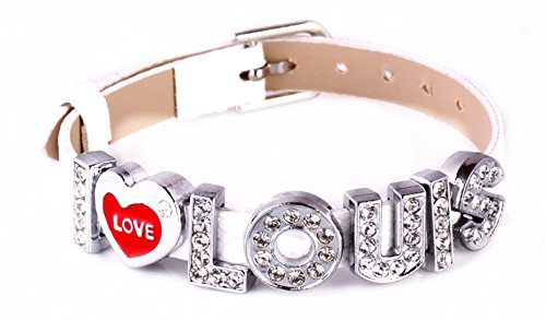 MBOX One Direction Style ID Member Bracelet Wristband Link Chain Fashion Jewelry (White with I Love Louis)