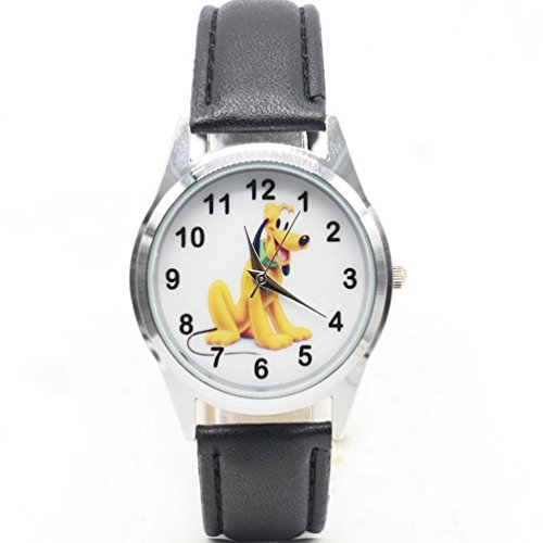 Pluto Dog - Pluto Dog Cartoon Character Genuine Leather Band Wrist Watch