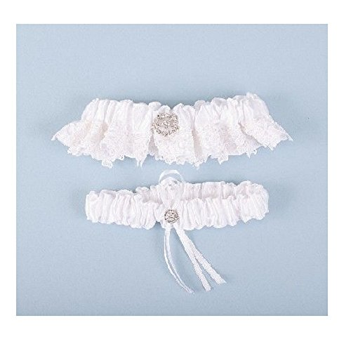 Beaucoup Wedding Bridal Garter Set (White Lace Rhinestone BGarter1) (Beaucoup Wedding)