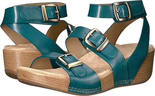 Calfskin Womens Casual Shoes - Dansko Women's Lou Sandal (Turquoise Burnished Calf, 40)