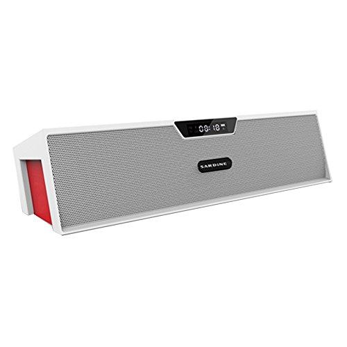 Haoponer Portable Wireless Bluetooth Speaker USB TF Card Music Mp3 Player FM Radio Alarm Clock Hands-free White/Red
