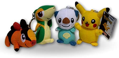 Pokemon Pack 4x Peluches 9cm con Llavero Pikachu, Tepig, Snivy y ...