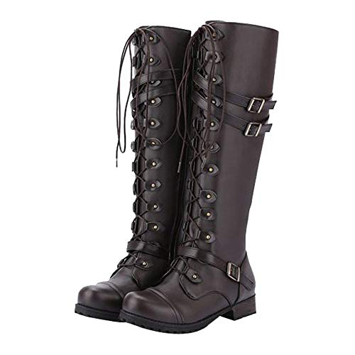 Winter Style Boots Buckle Brown High Loafers Gothic Boots Steampunk Punk Solid Military Vintage Retro Boots 5 Toe Up 2 Belt Boots Women Knee Round 8 BaZhaHei Boots Shoes Lace Combat Size 8wSqXPU