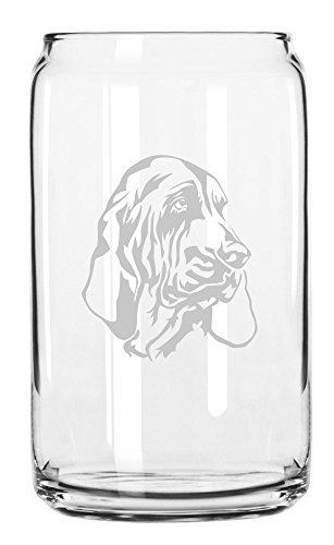 Bloodhound Dog Themed Etched All Purpose 16oz Libbey Can Glass