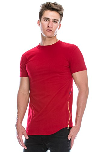 Hipster Hip Hop Basic Crewneck Red Longline Tshirts w/Side Zipper Medium