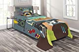 Lunarable Gamer Coverlet Set Twin Size, Gaming Guy in His Flat with Diplomas Loud Speakers Boxing Gloves Jump Rope and Trophy, 2 Piece Decorative Quilted Bedspread Set with 1 Pillow Sham, Multicolor