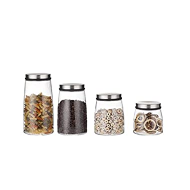 Best Token Set of 4 Glass Storage Jar Canister Set Storage Containers in Belly Shape