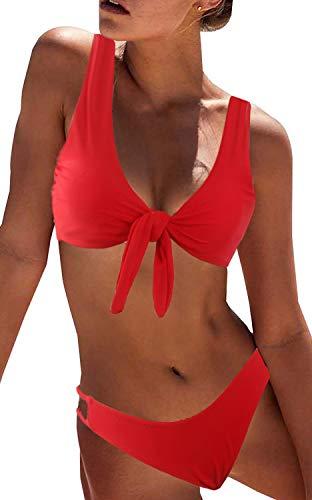DaiLiWei Bikini Swimwear Womens Tie Knot Two Piece Swimsuit Cutout Sexy Bathing Suit Striped Bikini Set Red