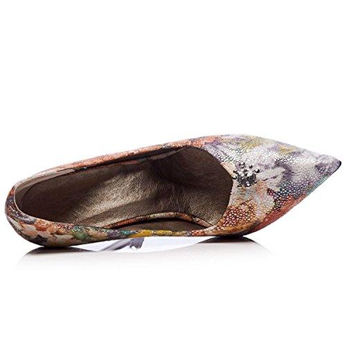 Evening Pumps Work High Dress Toe Party DecoStain Shoes MulticolouSilver Print Stilettos Heels Women's Pointed ZXq0z