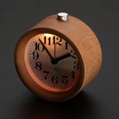 MAZIMARK--Classic Small Round Silent Table Snooze Beech Wood Alarm Clock Night Light New by MAZIMARK