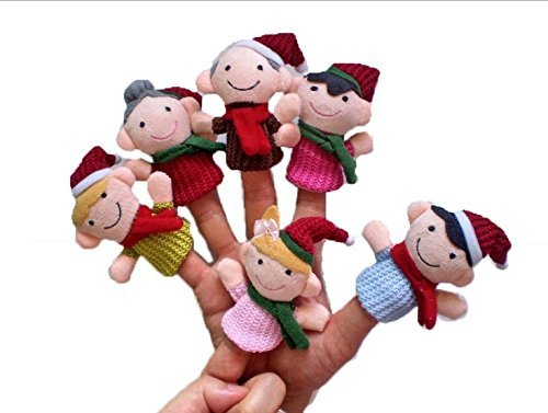 Pack of 6 Finger Puppets Shape For Chirstmas Family Toy Story(Include Drawstring Bag) Angelo Caro