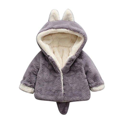 Lucao Fashion Baby Girl Fur Winter Warm Coat Cloak Jacket Thick Warm Clothes Gray Fox-H(90cm)