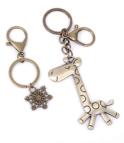 2 PCS Giraffe and Snow Wallet Keychain Decor Cool Keyring Pendant Charms Gifts for Women Teen Boy Girl Best Friends/Collections