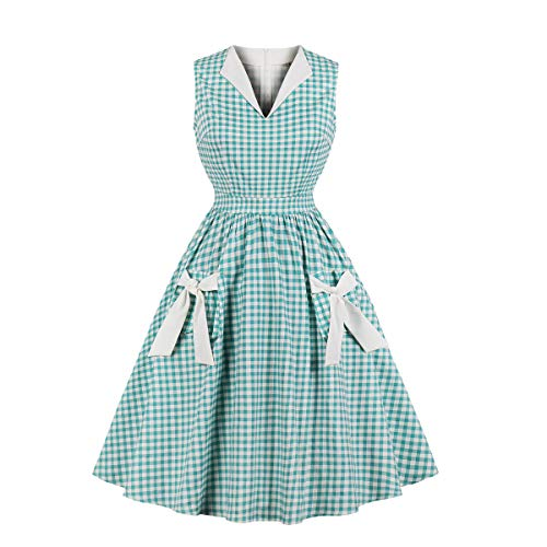 Wellwits Women's Lapel V Neck Plaid Pocket 1940s 1950s Vintage Swing Dress 4XL]()