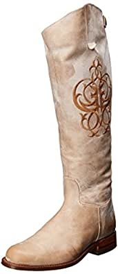 FRYE Women's Riding Back-Zip Boot, Taupe Burnished Antique Leather, 5.5 M US