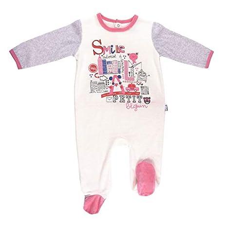 007faaa013548 Pyjama bébé velours ivoire Smile girl - Taille - 3 mois (62 cm ...