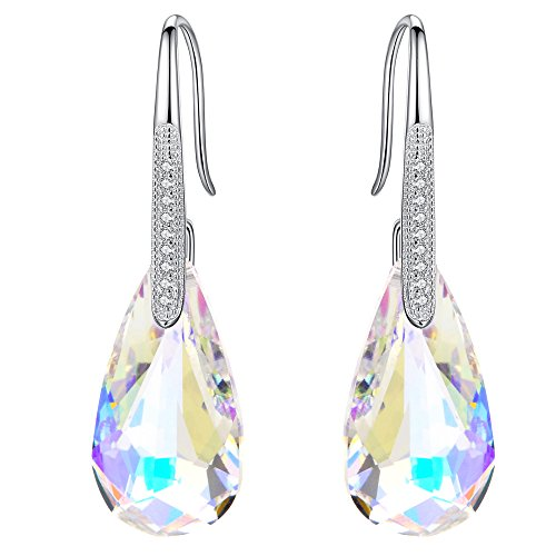 EleQueen 925 Sterling Silver CZ Teardrop Hook Dangle Earrings Iridescent Aurora Borealis AB Made with Swarovski Crystals ()