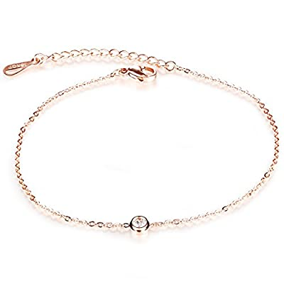 Fate Love Classic Simple Style Shiny Crystal Drill Women's Anklet Bracelet Rose Gold