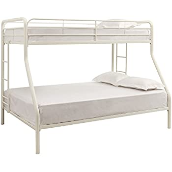 this item dhp twin sized bunk bed over full sized bed with metal frame white