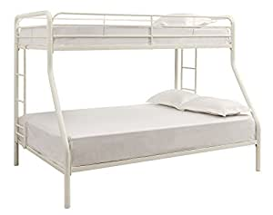 DHP Twin-Over-Full Bunk Bed with Metal Frame and Ladder, Space-Saving Design, White