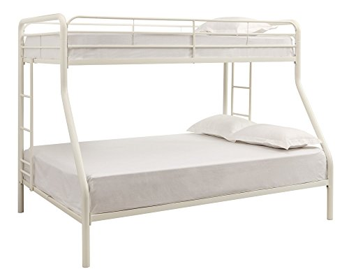 DHP Twin-Over-Full Bunk Bed with Metal Frame and Ladder, Space-Saving Design, White (Bed 1 Bed Bunk)