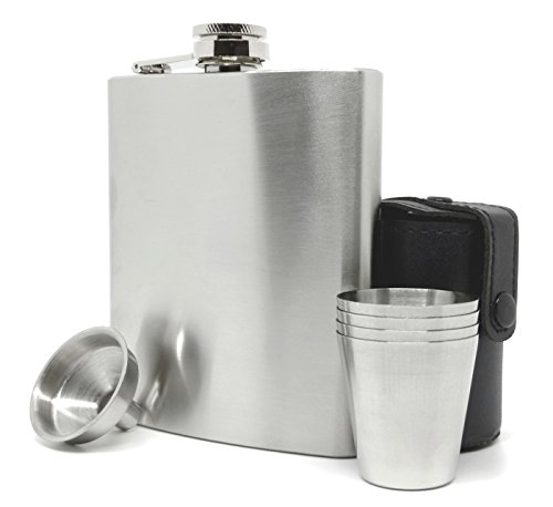 Hoffenheim Craftworks Classic Matte Style Stainless Steel 7 oz. Liquor Hip Flask Set with Funnel, Cups and Carrier