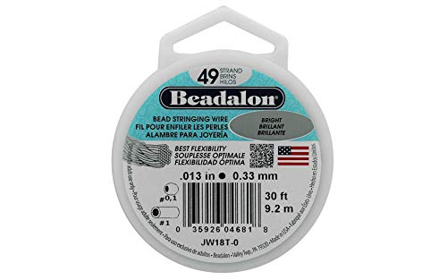 Beadalon 49-Strand Bead Stringing Wire, 0.013-Inch, Bright, 30-Feet