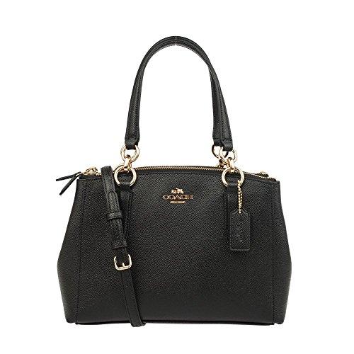 COACH Crossgrain Leather Mini Christie Carryall Crossbody Handbag (Black)