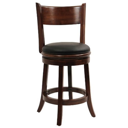 Boraam 47124 Palmetto Counter Height Swivel Stool, 24-Inch, Walnut - Traditional Style Bench