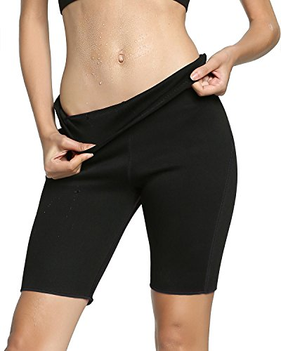 Roseate Women's Slimming Shorts High Waist Body Shaper Thermo Sweat Workout Pants (Black, Small)
