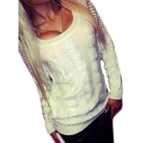 WOCACHI Damen Pullover Frauen Langarm-lose Strickjacke Strickpullover Backless Knitwear Outwear Mantel Weiß (M, Weiß)