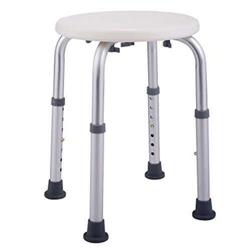 PEATAO Round Shower Stool 7 Levels Adjustable Aluminum Alloy ightweight Compact and Small Chair for Shower [US Stock] (White) (Teak Stock)