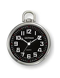 Gotham Men's Silver-Tone Ultra Thin Railroad Open Face Quartz Pocket Watch # GWC15022SB