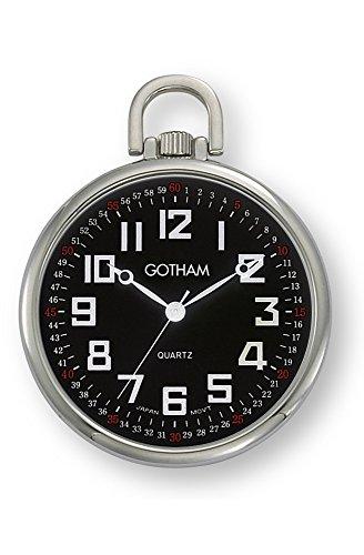 Belt Silver Link Chain Tone (Gotham Men's Silver-Tone Railroad Open Face Quartz Pocket Watch # GWC15022SB)