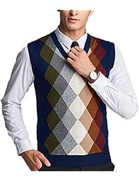 Men's Classic V-Neck Argyle Sweater Knitwear Vest