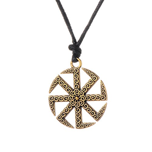 (Antique Kolovrat Slavic Sun Wheel Pendant Charm Necklace Jewelry for Men and Women (Antique Gold))