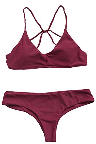 Stevenurr Women's Solid Color Cross Back Padding Bikini Set, Burgundy (M) as pictureMedium