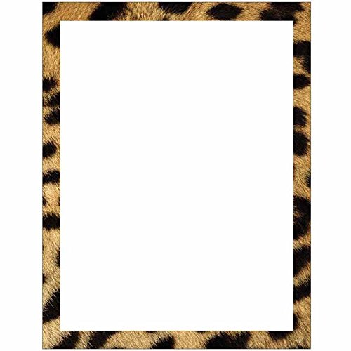 Cheetah Print Border Stationery Letter Paper - Wildlife Animal Theme Design - Gift - Business - Office - Party - School Supplies