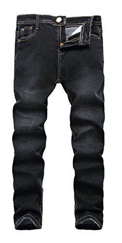 Boy's Black Skinny Fit Stretch Slim Straight Fashion Denim Jeans Pants,Denim Black,12