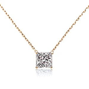 14K Yellow, Rose or White Gold Chain Necklace 0.25 carat Princess Diamond Solitare Pendant Necklace