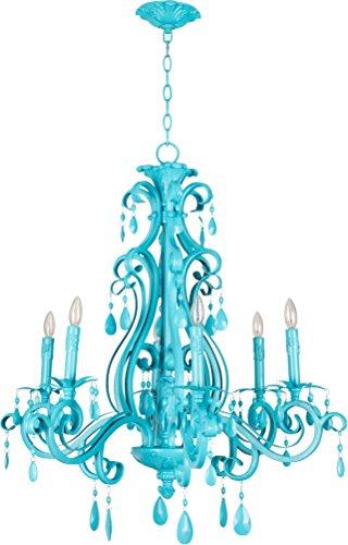 (Craftmade 25626-TQ Englewood European Crystal Chandelier Lighting, 6-Light, 360 Watts, Turquoise (29