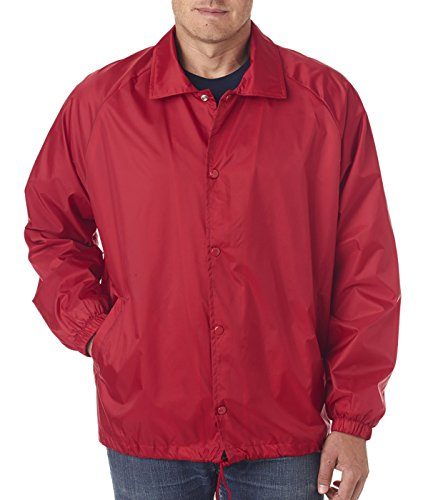 Tall and Regular Flannel Lined Coaches Jacket Windbreaker To Size 6X (Red, Big 6X) (Nylon Flannel Coaches Jacket)