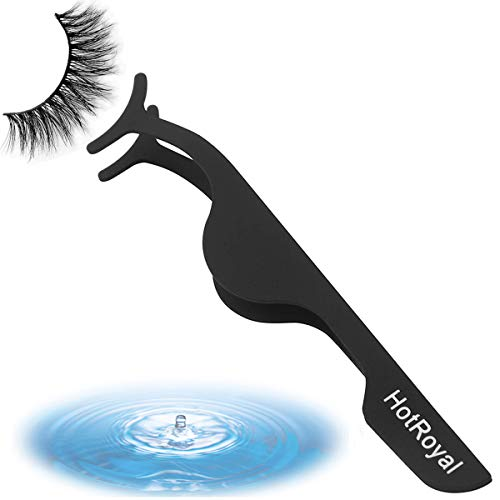 False Eyelashes Applicator Tool Eyelash Extension Tweezers, Stainless Steel Fake Eyelash Applicator (Black)